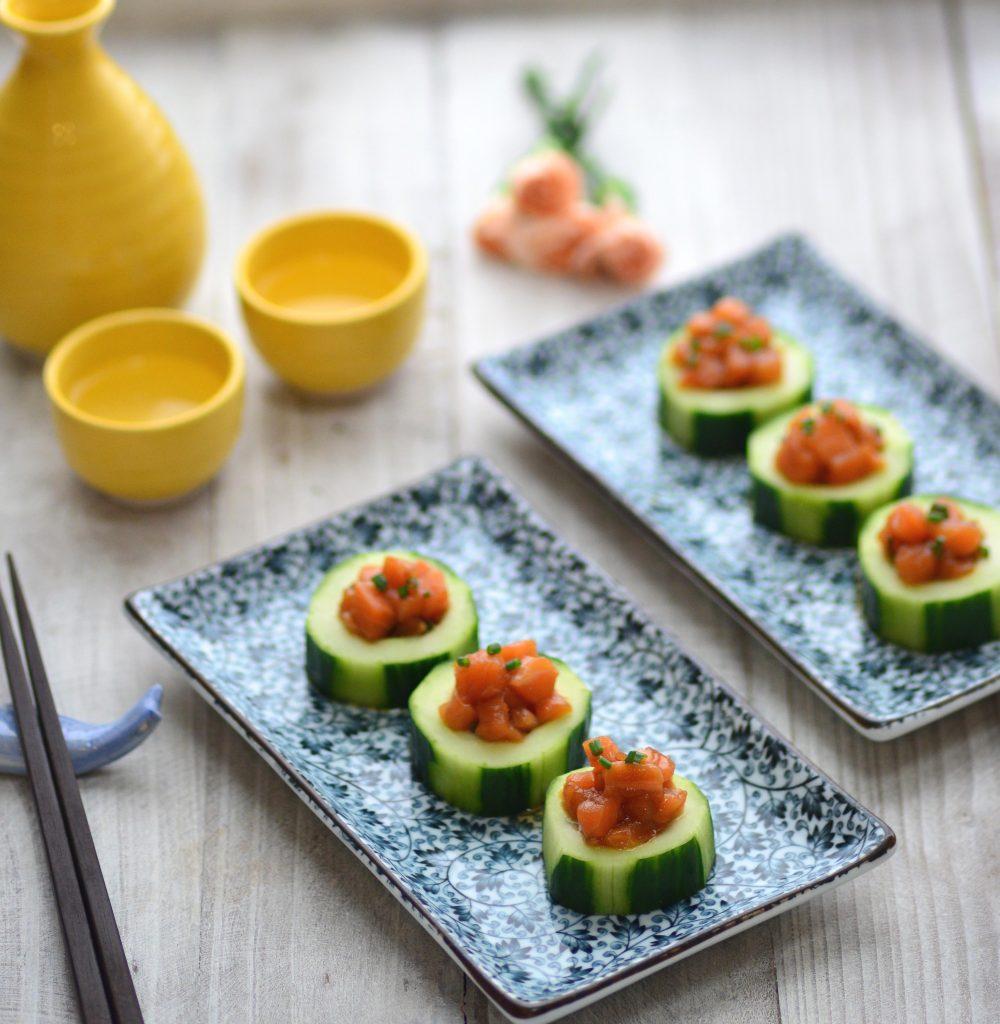 Salmon Tartare Cucumber Cups|My Global Cuisine